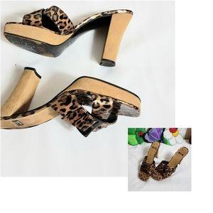 Stuart Weitzman Leopard Slide Sandals